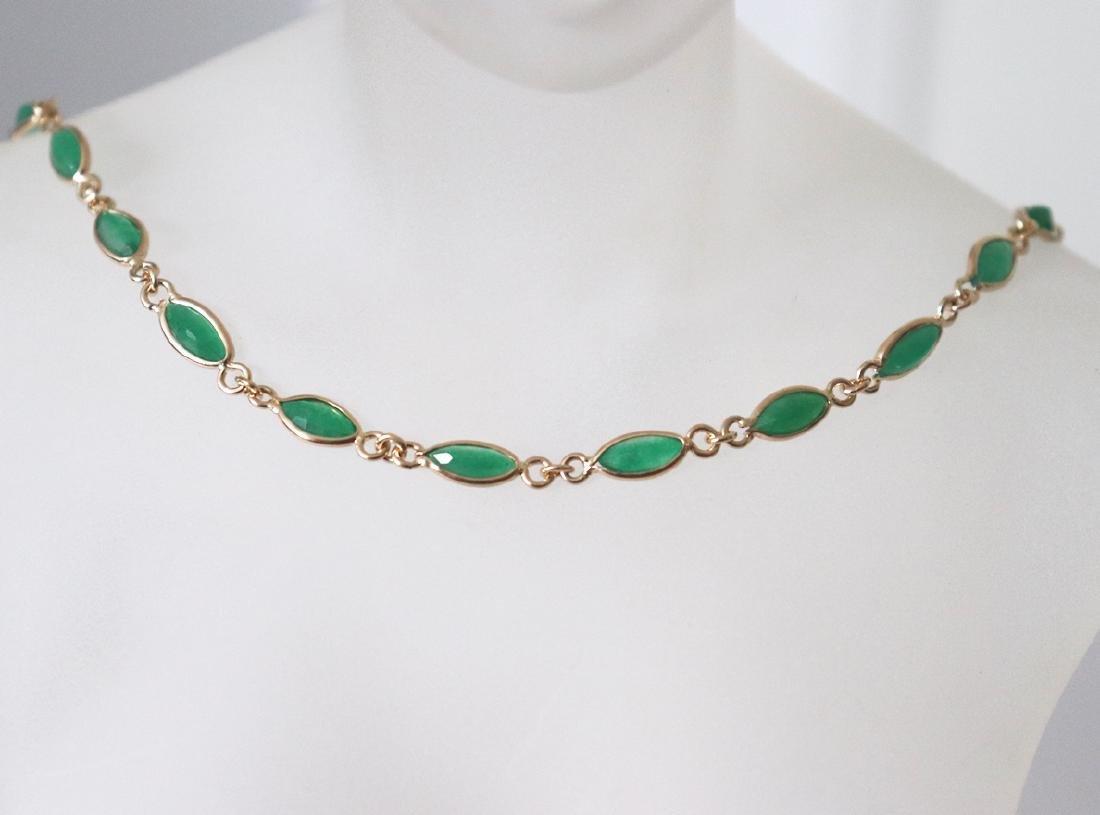 Jade Necklace 11.02Ct 14k Y/g - 2