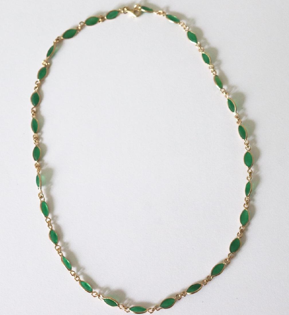 Jade Necklace 11.02Ct 14k Y/g - 3