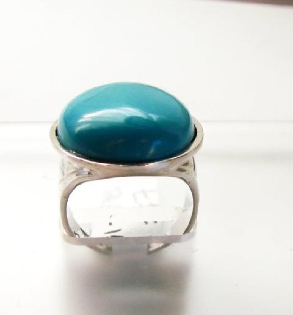 Creation Blue Turquoise Ring 27.00Ct 18k W/g Overlay - 3