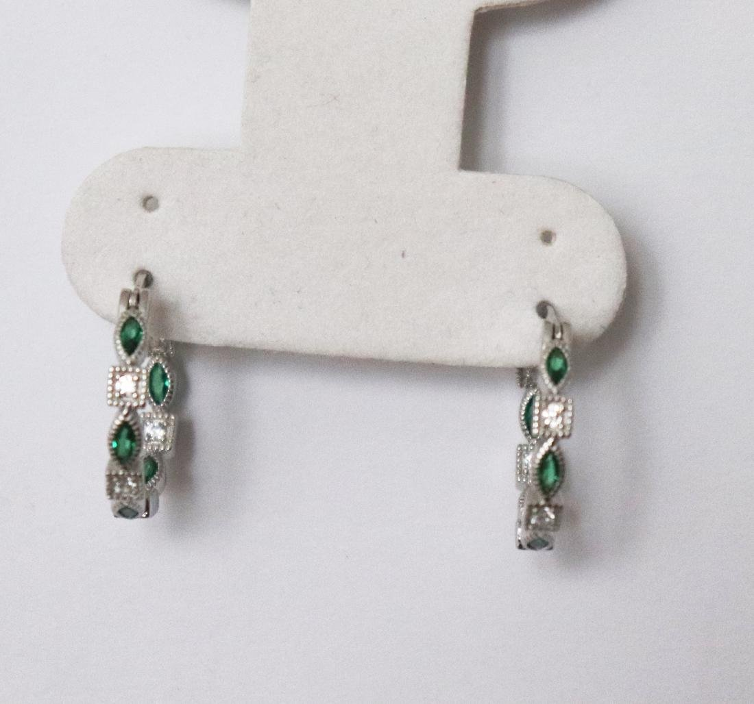 Creation Diamond Emerald Earrings 1.70Ct 18k W/g