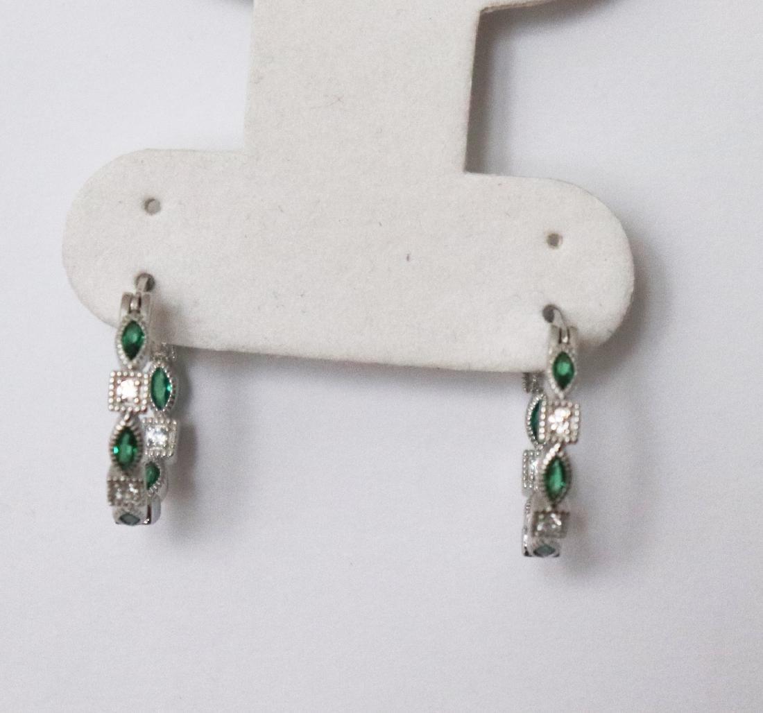 Creation Diamond Emerald Earrings 1.70Ct 18k W/g