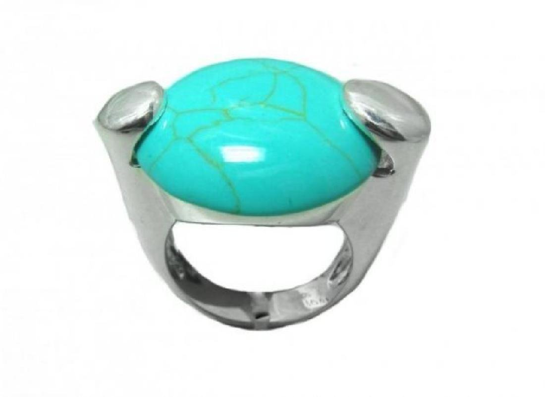 Vintage BlueTurquoise Cabochon Rings Sterling Silver - 2