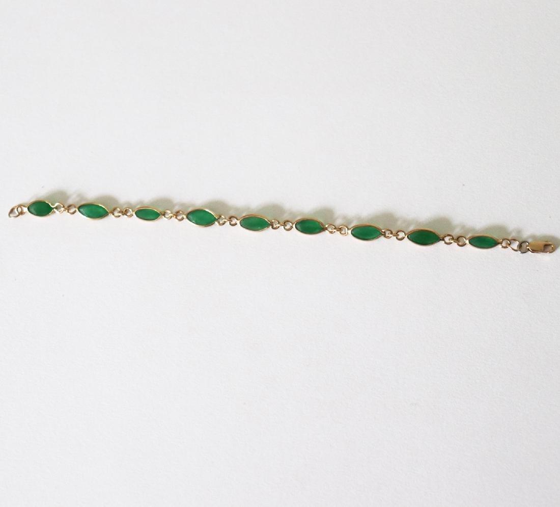 Jade Bracelet 3.42Ct 14k Y/g - 2