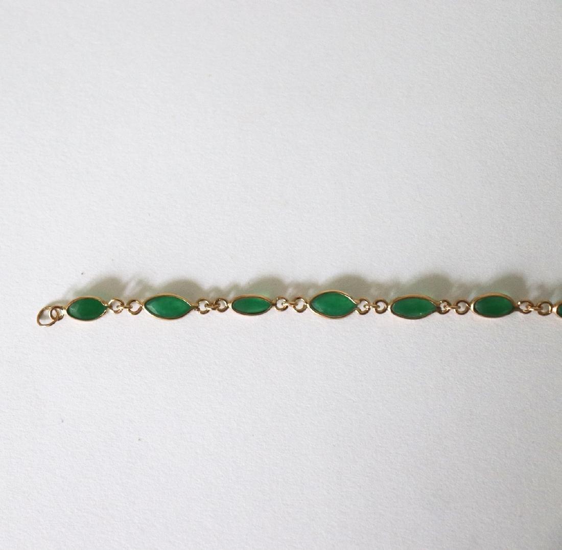 Jade Bracelet 3.42Ct 14k Y/g - 3