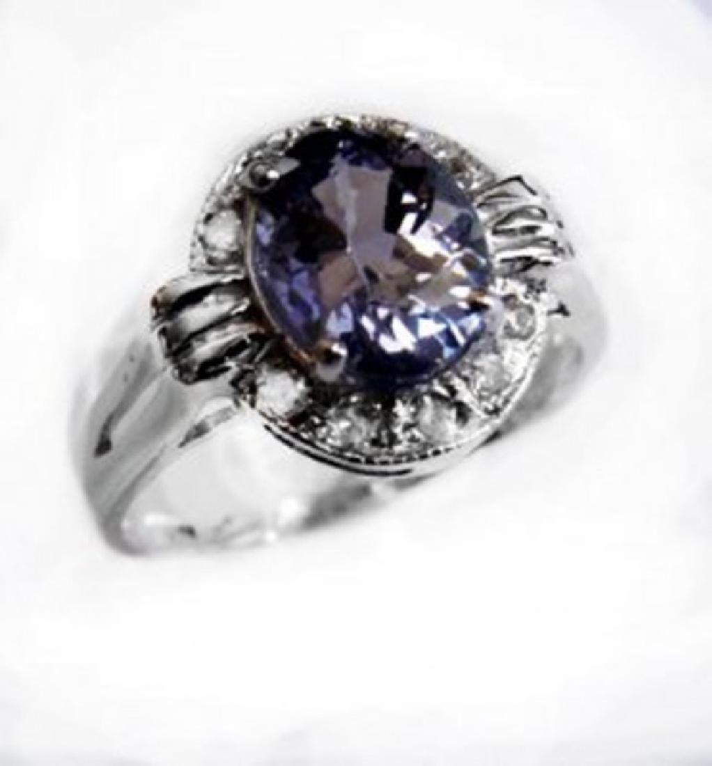 Anniversary Ring Tanzanite & Diamond 2.03CT 14 W/G - 2