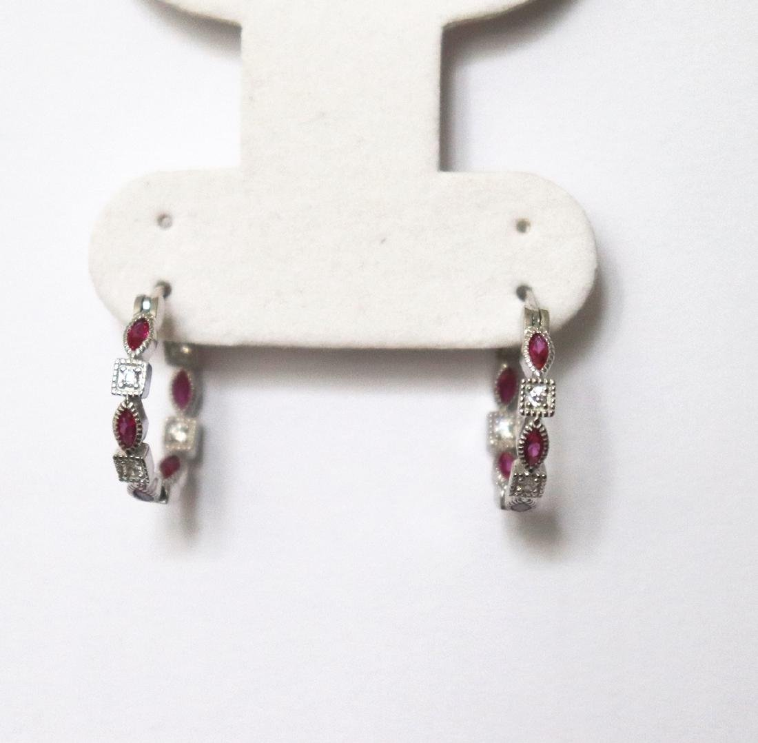 Creation Diamond Ruby Earrings 1.70Ct 18k W/g Overlay