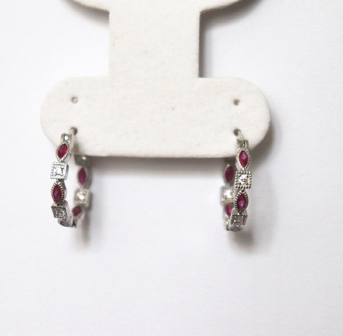 Creation Diamond Ruby Earrings 1.70Ct 18k W/g Overlay