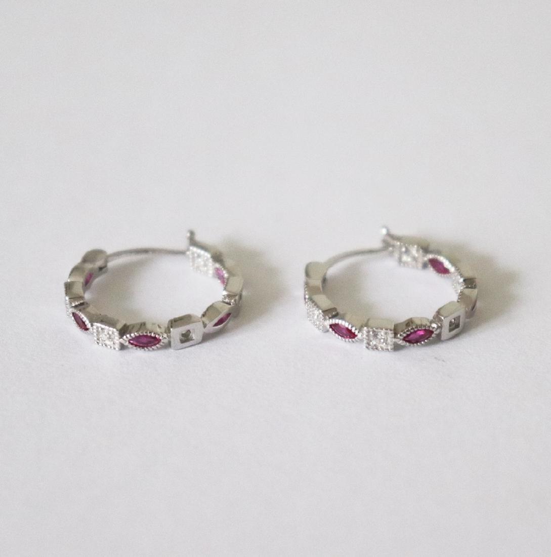 Creation Diamond Ruby Earrings 1.70Ct 18k W/g Overlay - 2
