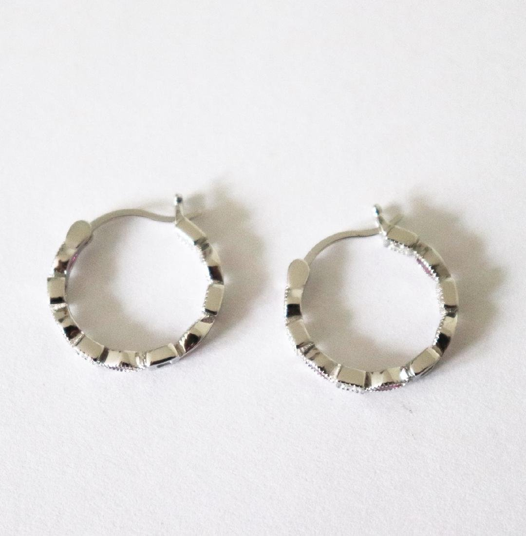 Creation Diamond Ruby Earrings 1.70Ct 18k W/g Overlay - 3