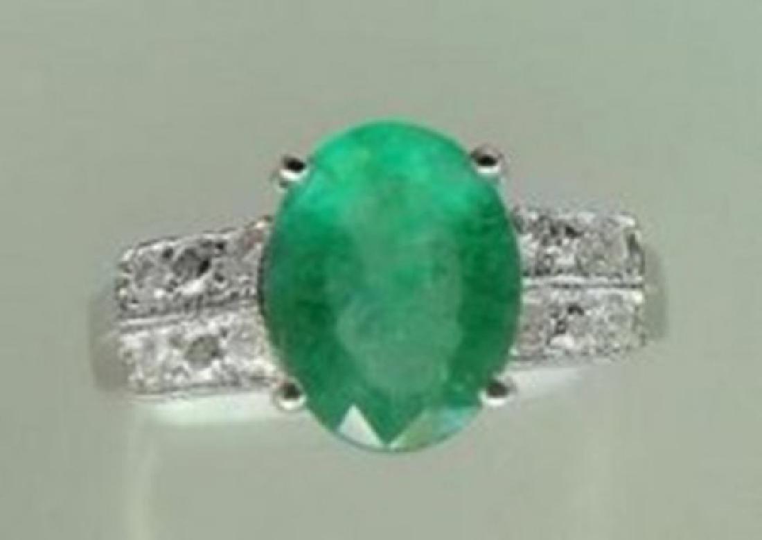 Ring Natural Columbia Emerald Diamond 1.92Ct 14k W/g