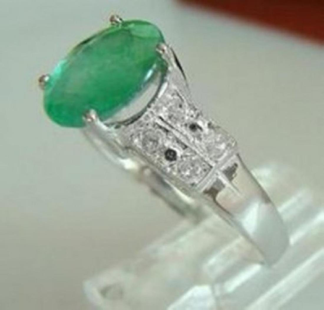 Ring Natural Columbia Emerald Diamond 1.92Ct 14k W/g - 2