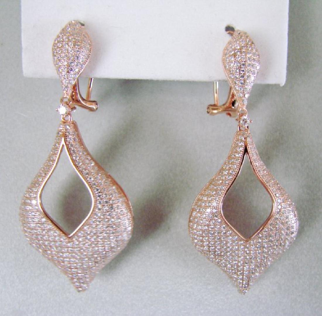 Creation Diamond Earrings 6.17Ct 18k R/g Overlay - 2