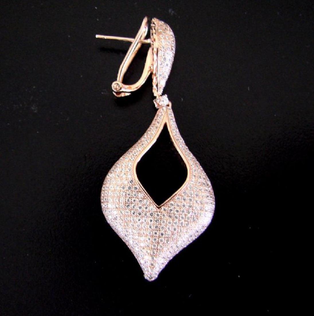 Creation Diamond Earrings 6.17Ct 18k R/g Overlay - 3