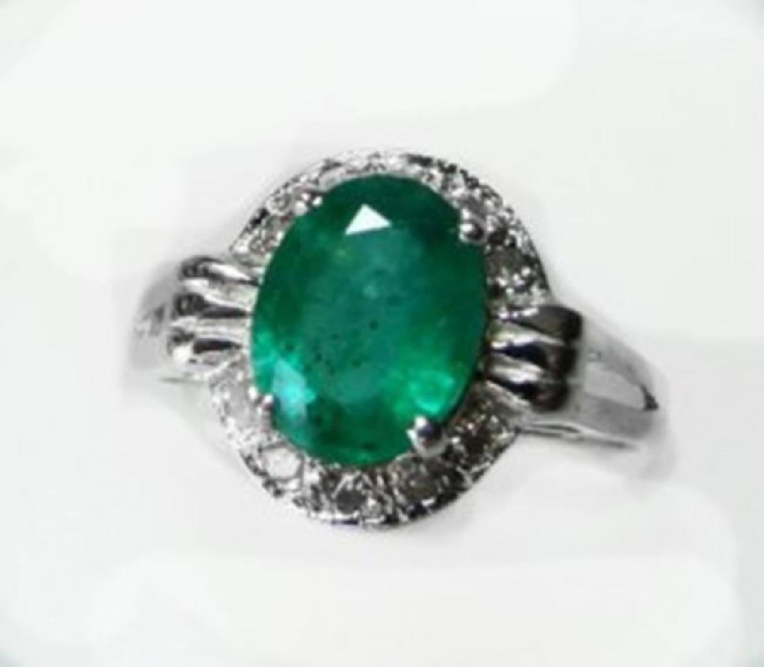 Anniversary Ring Emerald & Diamond 1.95Ct 14k W/g