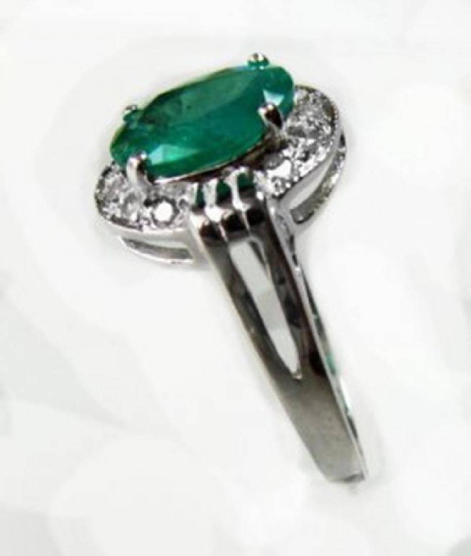 Anniversary Ring Emerald & Diamond 1.95Ct 14k W/g - 2
