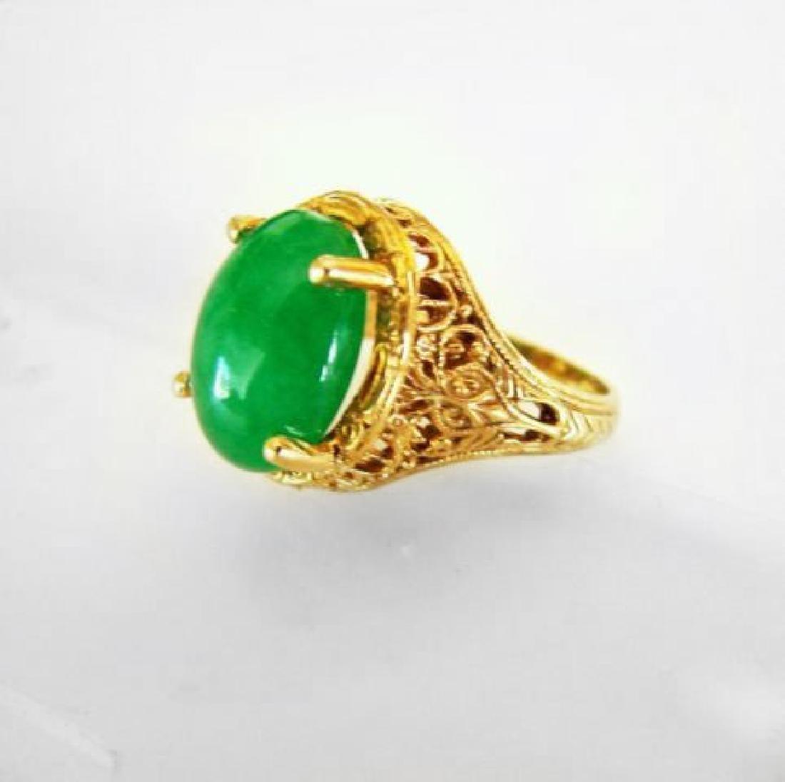 Antique Ring Jadeite Jade 6.82 Carat 14k Yellow Gold