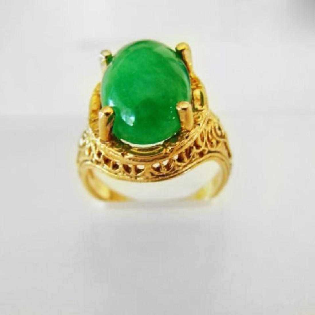 Antique Ring Jadeite Jade 6.82 Carat 14k Yellow Gold - 2
