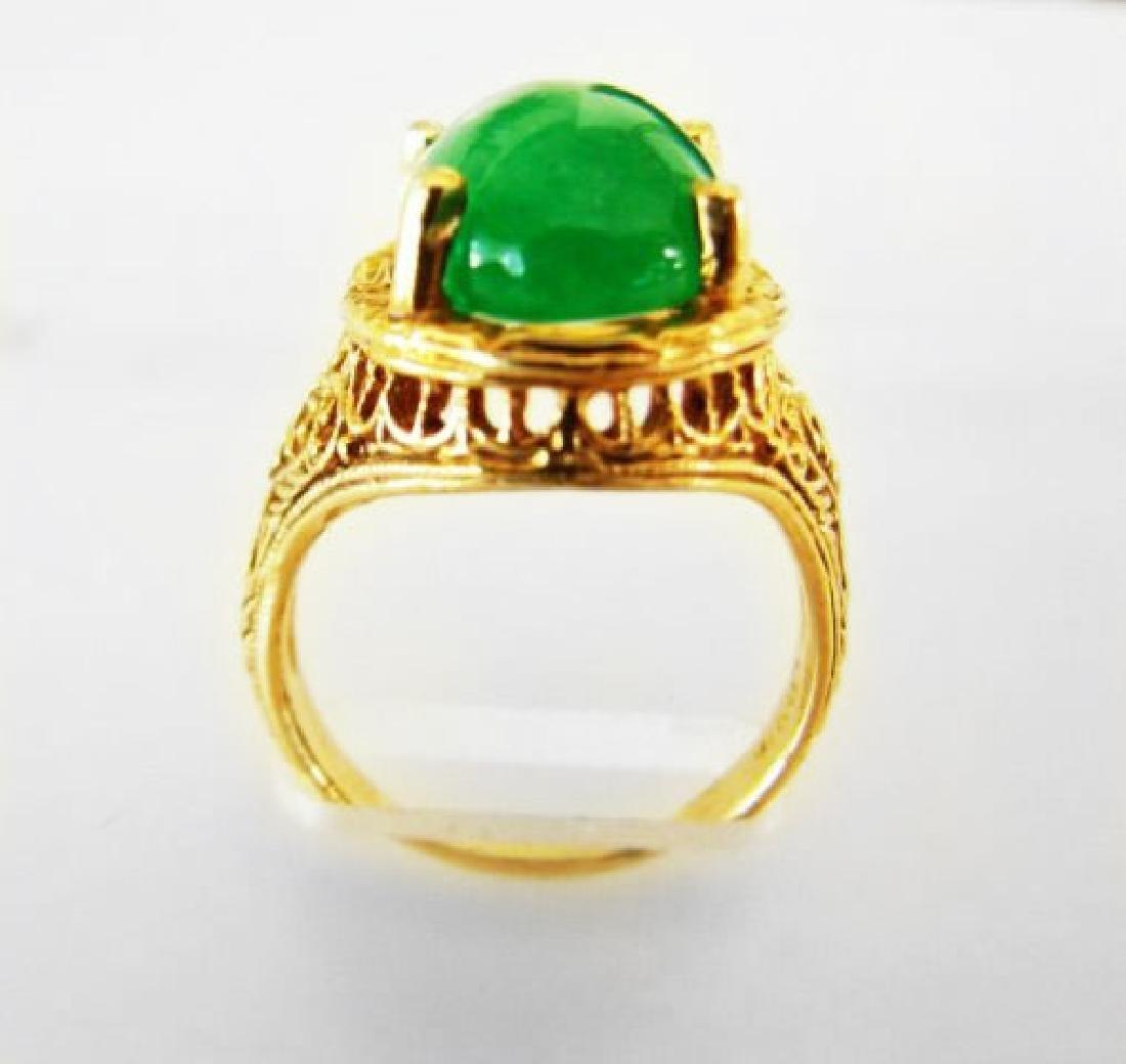 Antique Ring Jadeite Jade 6.82 Carat 14k Yellow Gold - 3