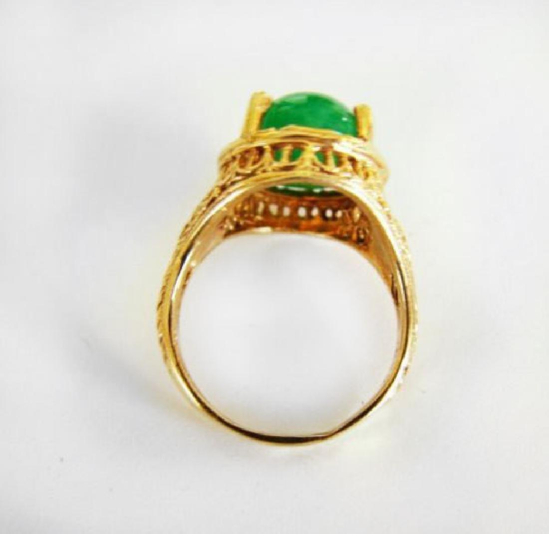 Antique Ring Jadeite Jade 6.82 Carat 14k Yellow Gold - 4