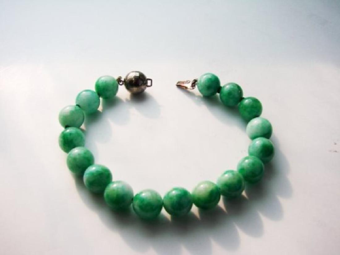 Natural Jadeite Jade bead Bracelet  Grade: B - 2
