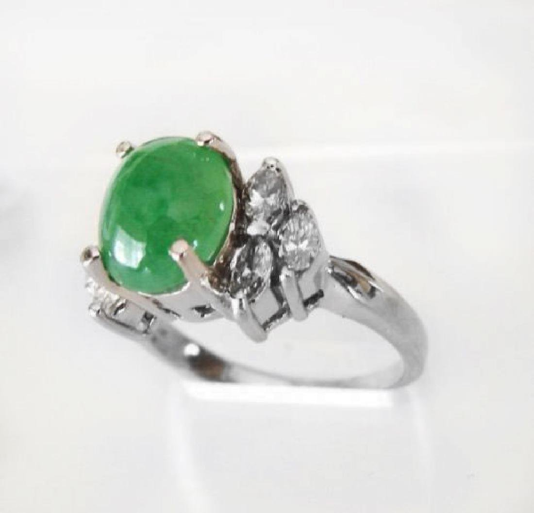 Diamond-Imperial Jadeite Jade Ring 4.24Ct14k W/G-Sz 6.5 - 2