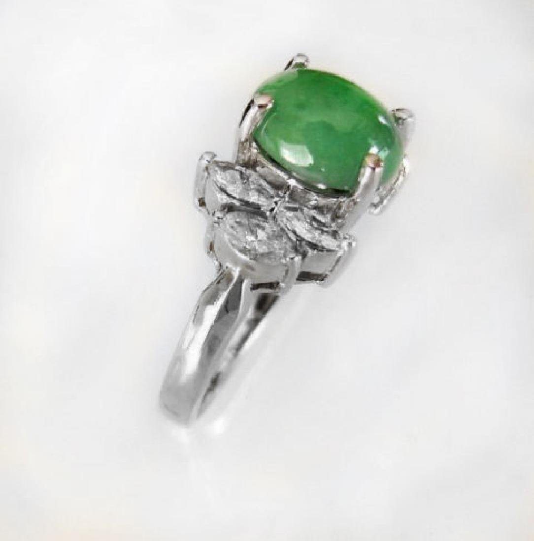 Diamond-Imperial Jadeite Jade Ring 4.24Ct14k W/G-Sz 6.5 - 3