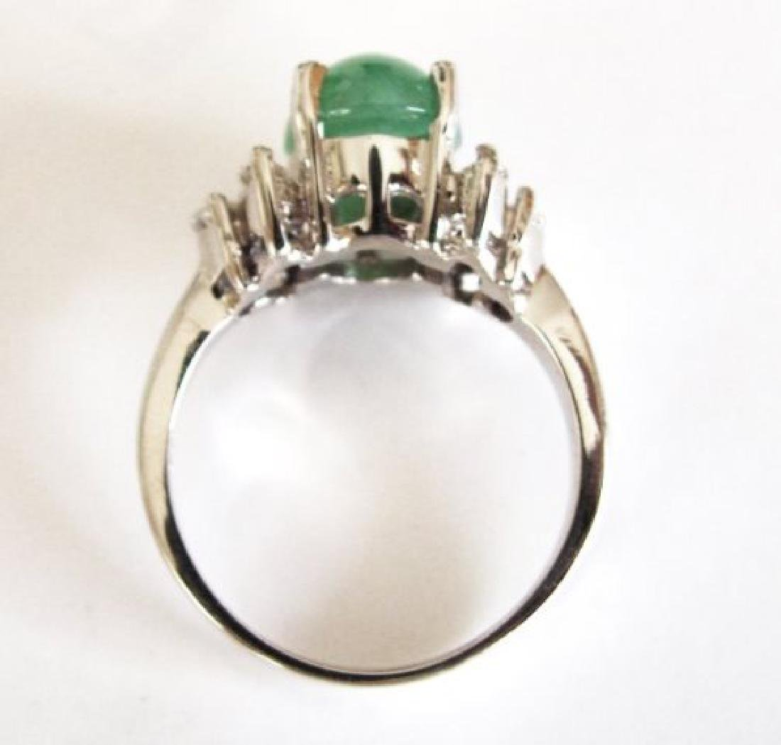 Diamond-Imperial Jadeite Jade Ring 4.24Ct14k W/G-Sz 6.5 - 5