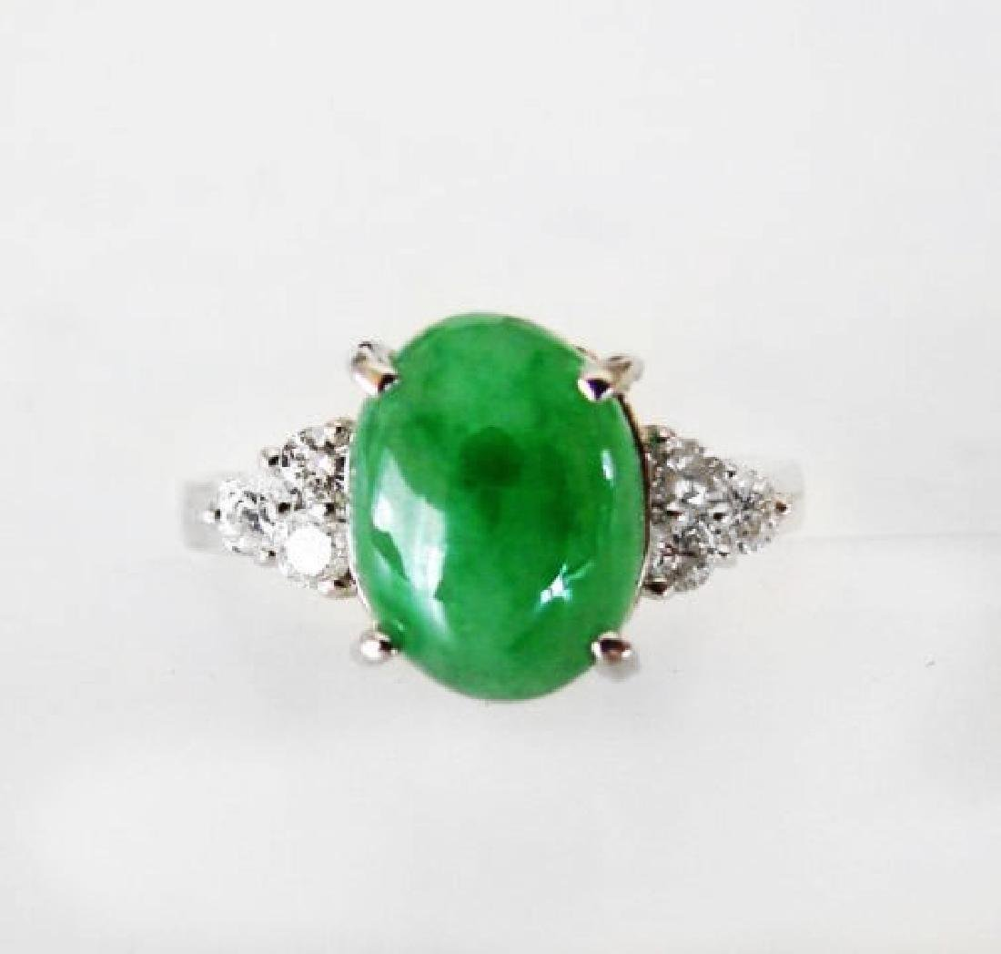 Diamond-Imperial Jadeite Jade Ring 3.39Ct14k W/G-Sz 6.5