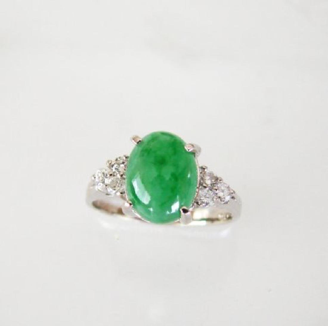 Diamond-Imperial Jadeite Jade Ring 3.39Ct14k W/G-Sz 6.5 - 2