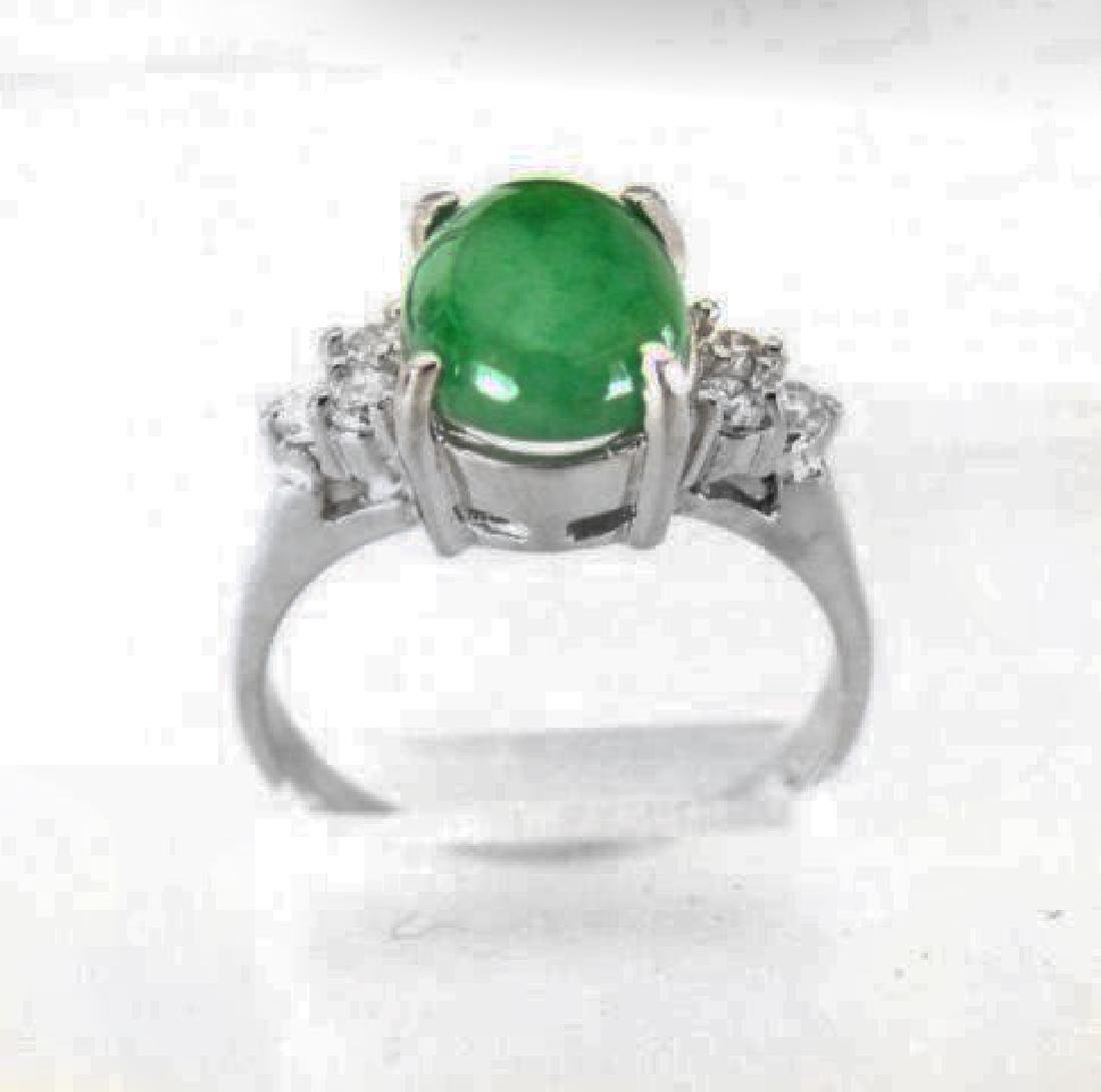 Diamond-Imperial Jadeite Jade Ring 3.39Ct14k W/G-Sz 6.5 - 3