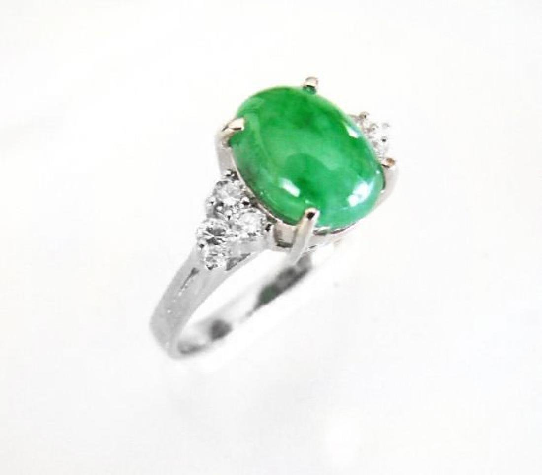 Diamond-Imperial Jadeite Jade Ring 3.39Ct14k W/G-Sz 6.5 - 4