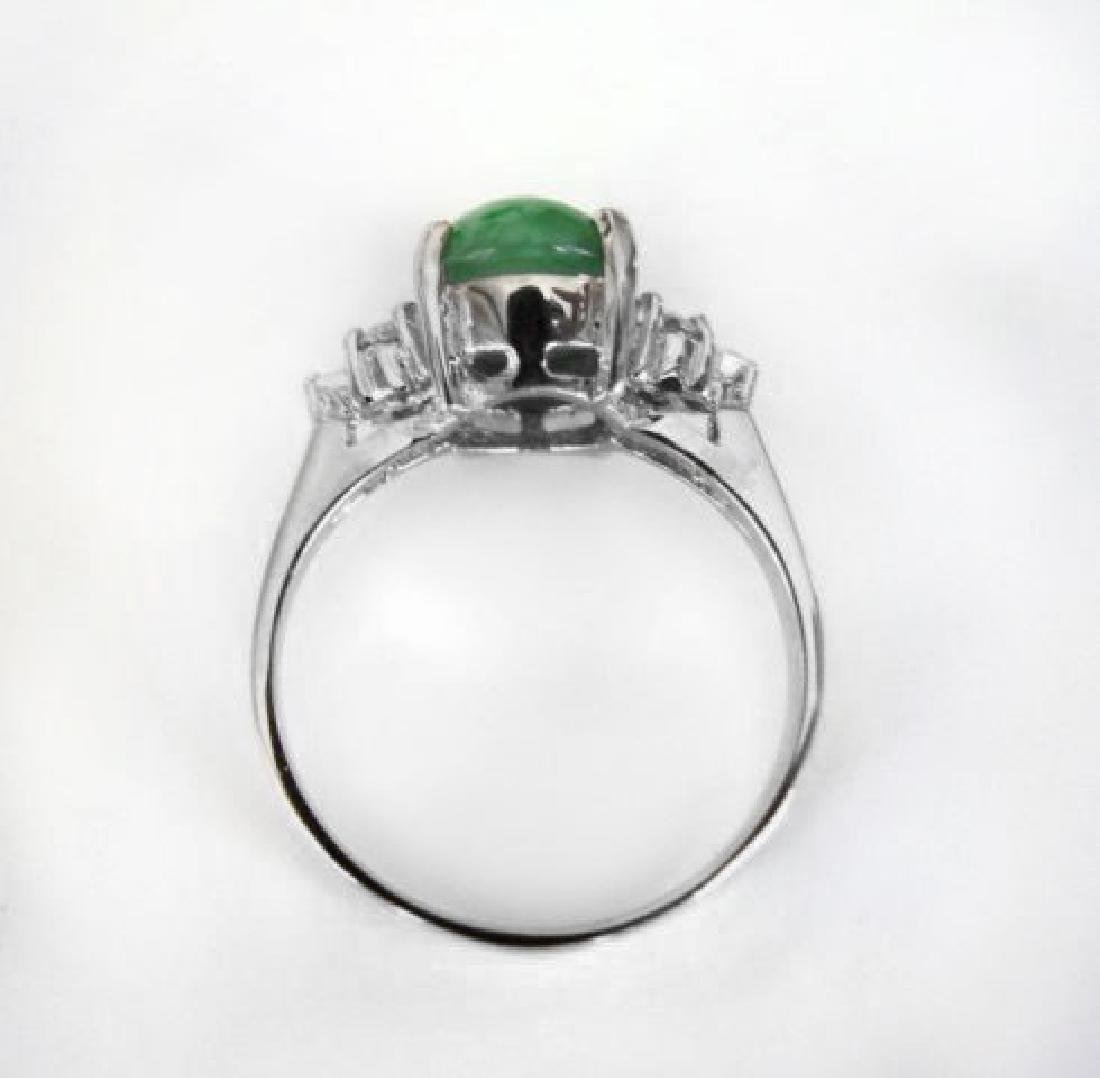 Diamond-Imperial Jadeite Jade Ring 3.39Ct14k W/G-Sz 6.5 - 5
