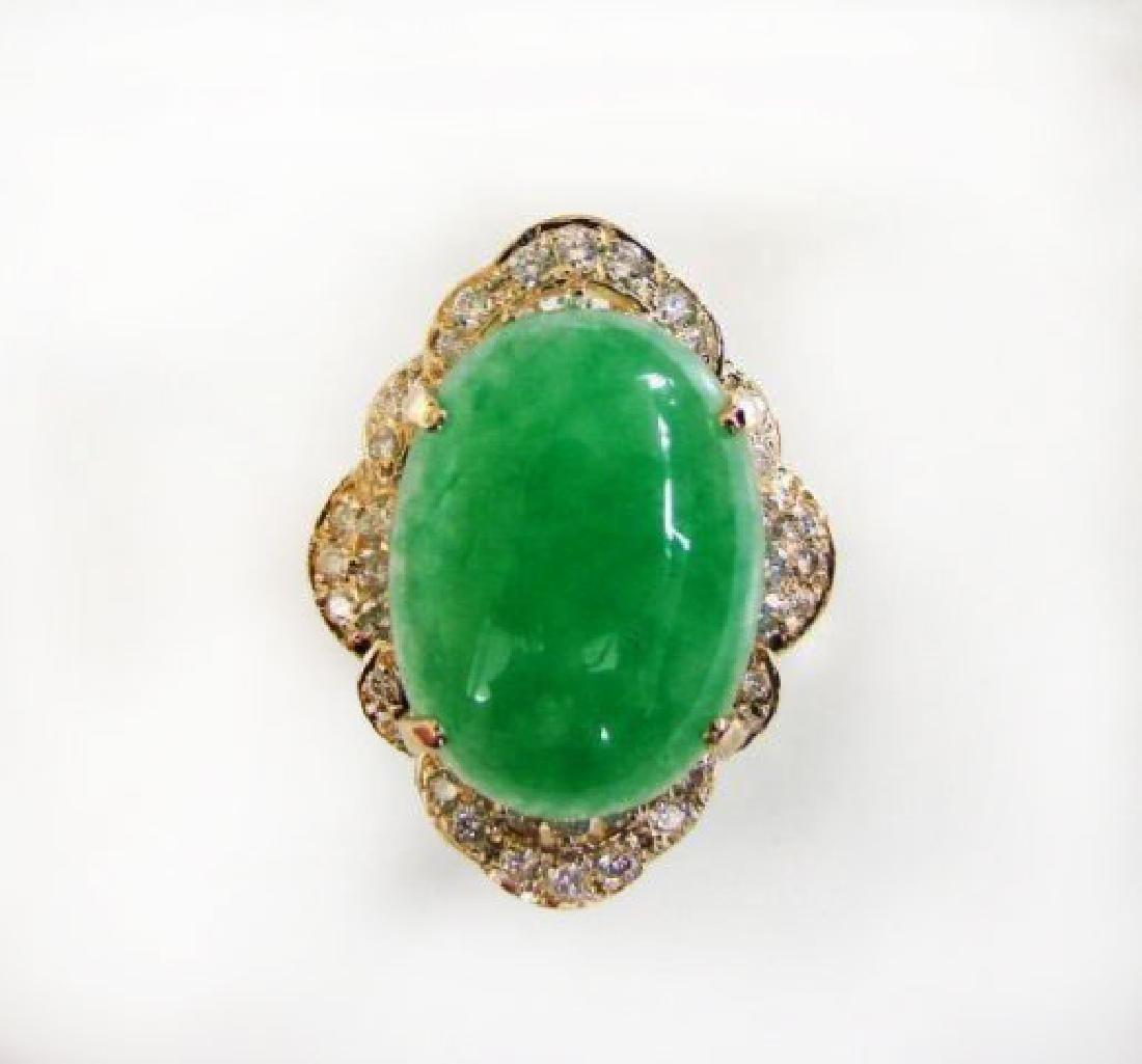Anniversary Diamond-Jadeite Jade Ring 11.50Ct 14k Y/g
