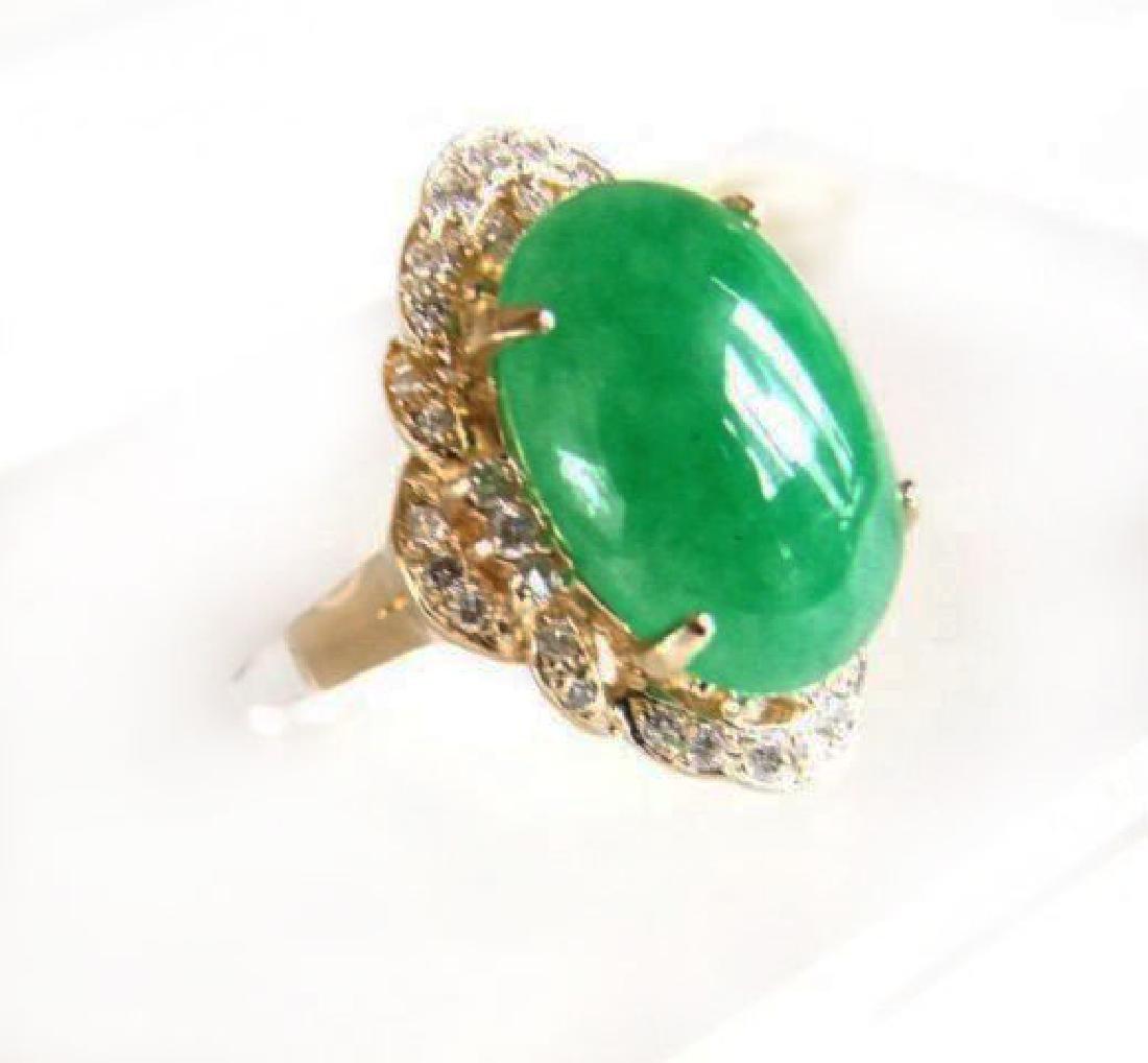 Anniversary Diamond-Jadeite Jade Ring 11.50Ct 14k Y/g - 2