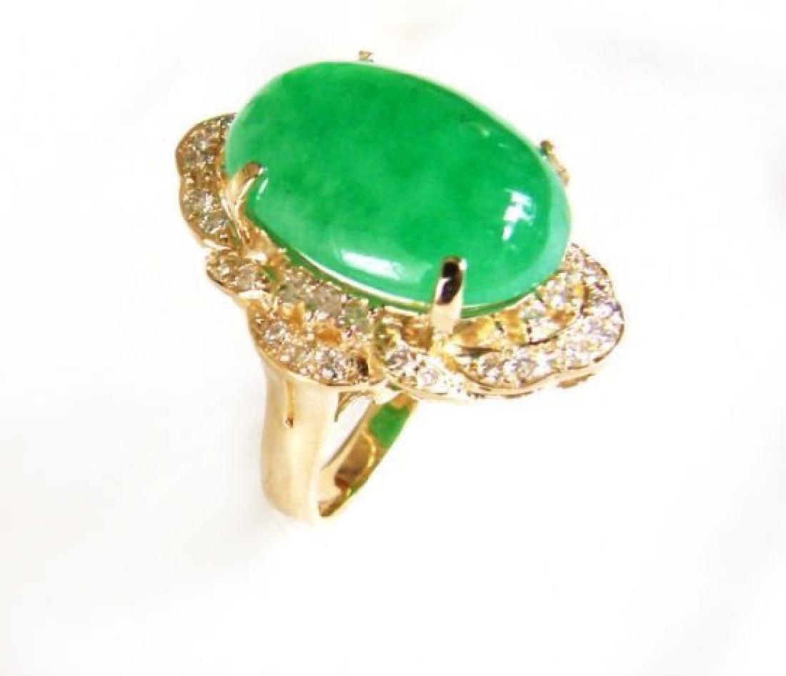 Anniversary Diamond-Jadeite Jade Ring 11.50Ct 14k Y/g - 3