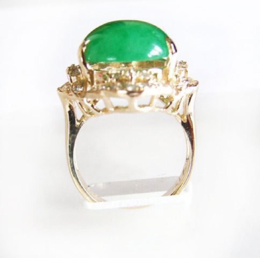 Anniversary Diamond-Jadeite Jade Ring 11.50Ct 14k Y/g - 4