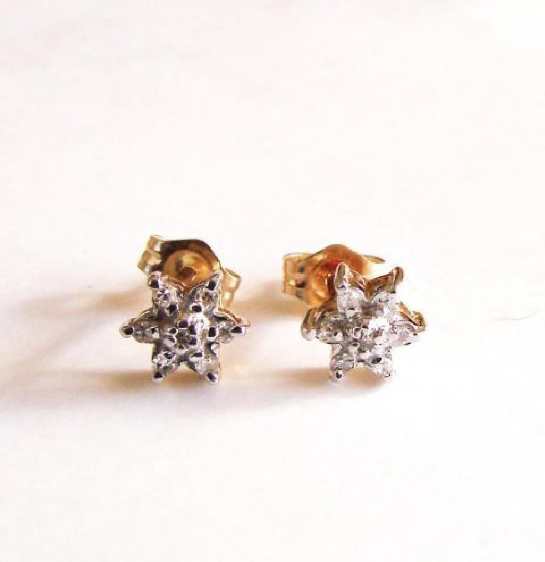 Diamond Flower Stud Earring .12 Ct 14k Y/g - 2