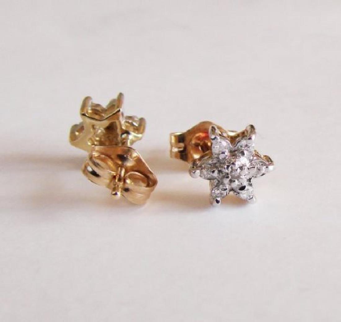 Diamond Flower Stud Earring .12 Ct 14k Y/g - 3