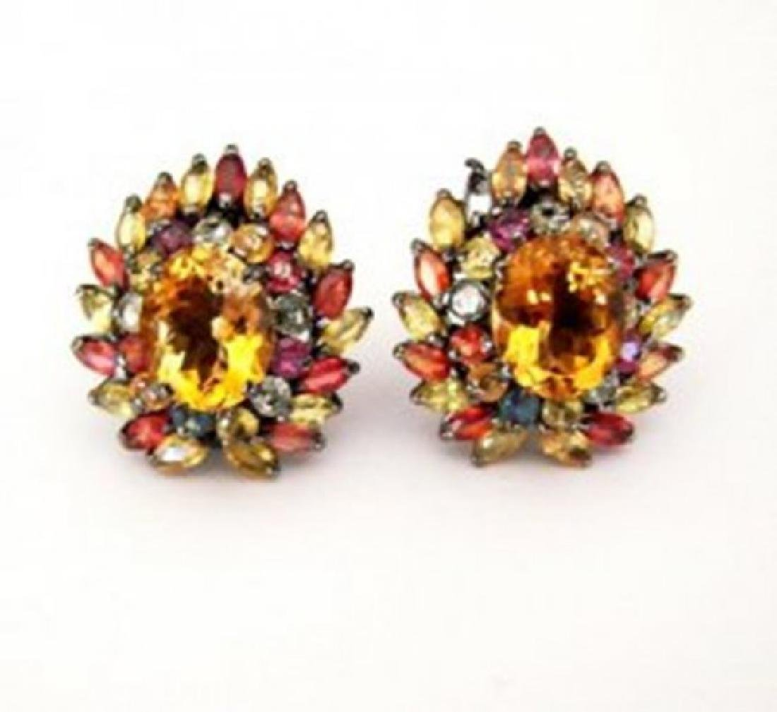 Natural Multicolor Earrings 15.05Ct 18k Ant Overlay