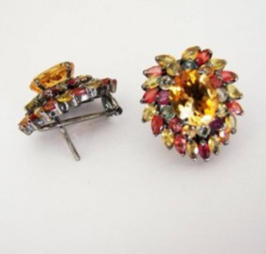 Natural Multicolor Earrings 15.05Ct 18k Ant Overlay - 2