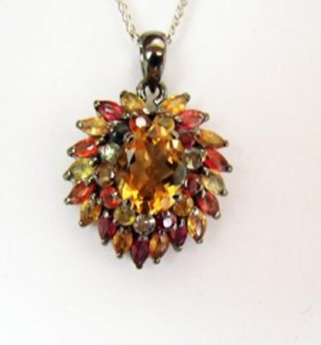 Natural  Multicolor Pendant 7.55Ct 18k Ant Overlay