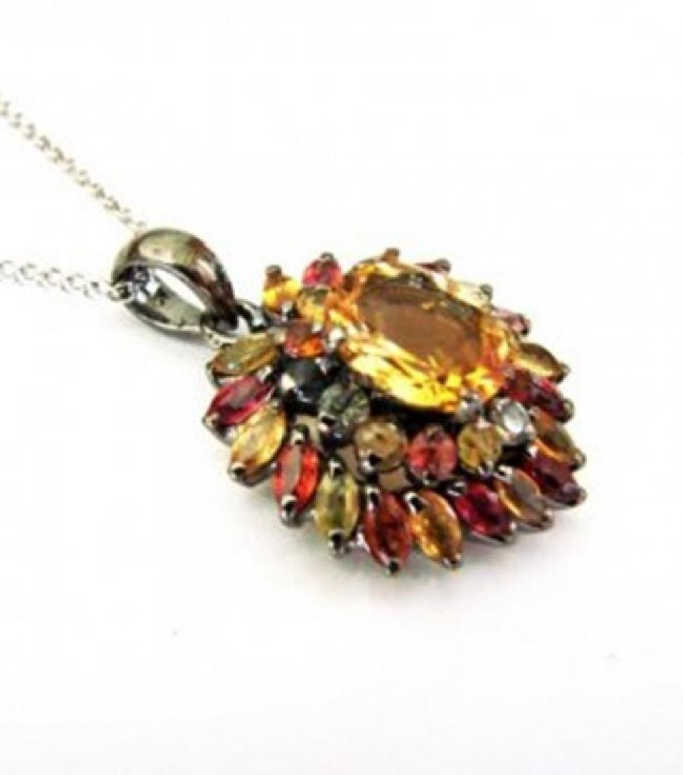 Natural  Multicolor Pendant 7.55Ct 18k Ant Overlay - 2