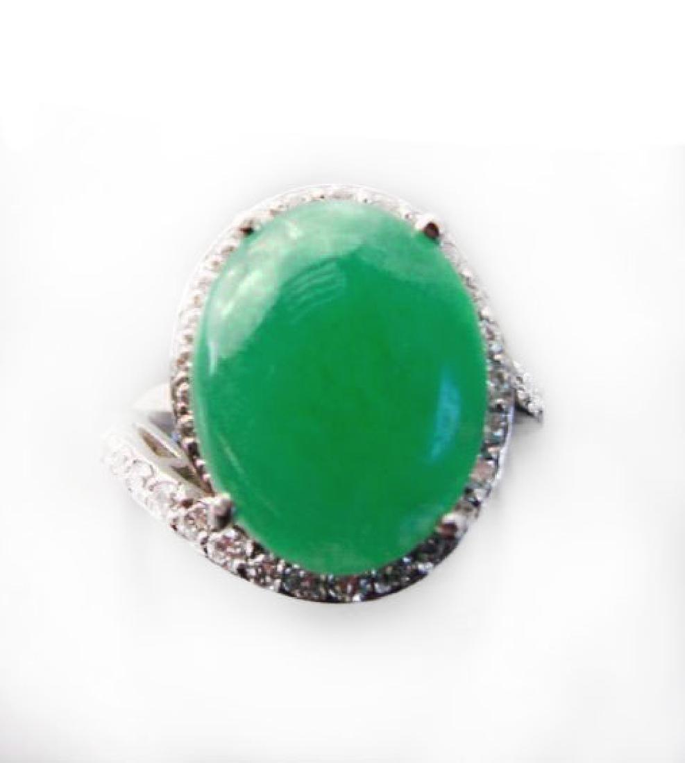 Diamond-Jadeite Jade Ring 13.95Ct 14k W/g