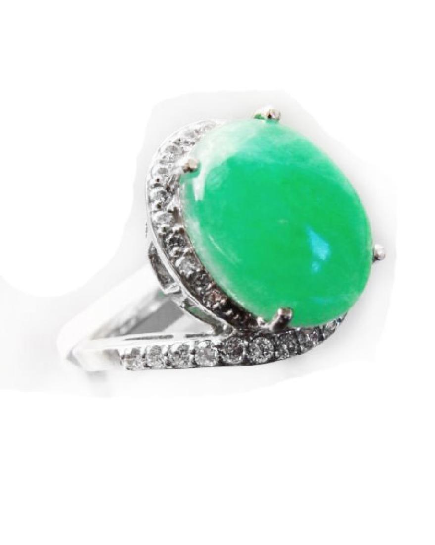 Diamond-Jadeite Jade Ring 13.95Ct 14k W/g - 2