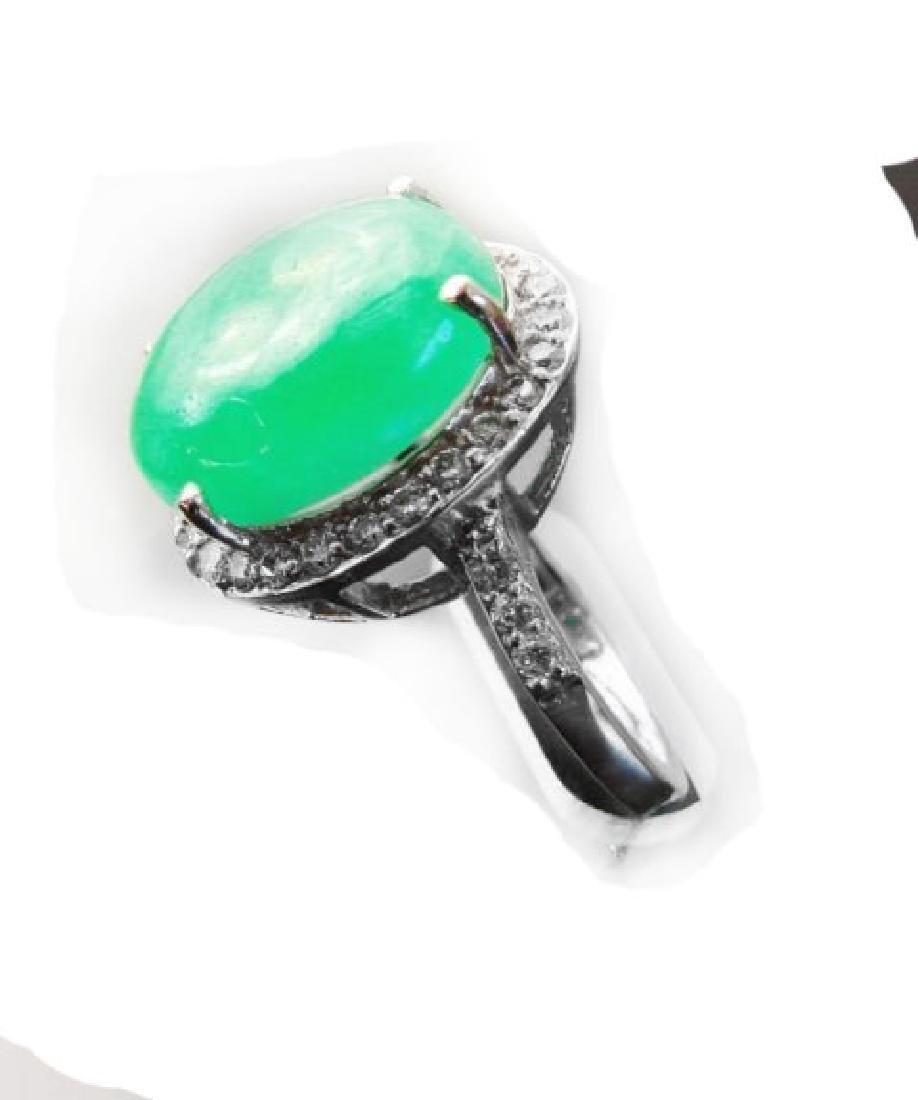 Diamond-Jadeite Jade Ring 13.95Ct 14k W/g - 3