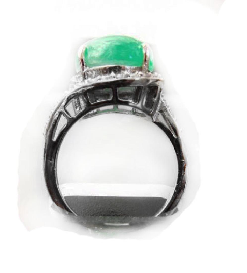 Diamond-Jadeite Jade Ring 13.95Ct 14k W/g - 4