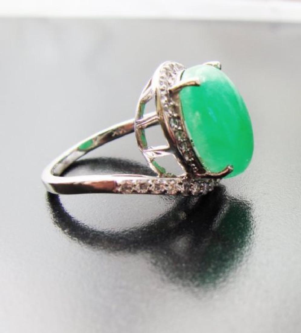 Diamond-Jadeite Jade Ring 13.95Ct 14k W/g - 5