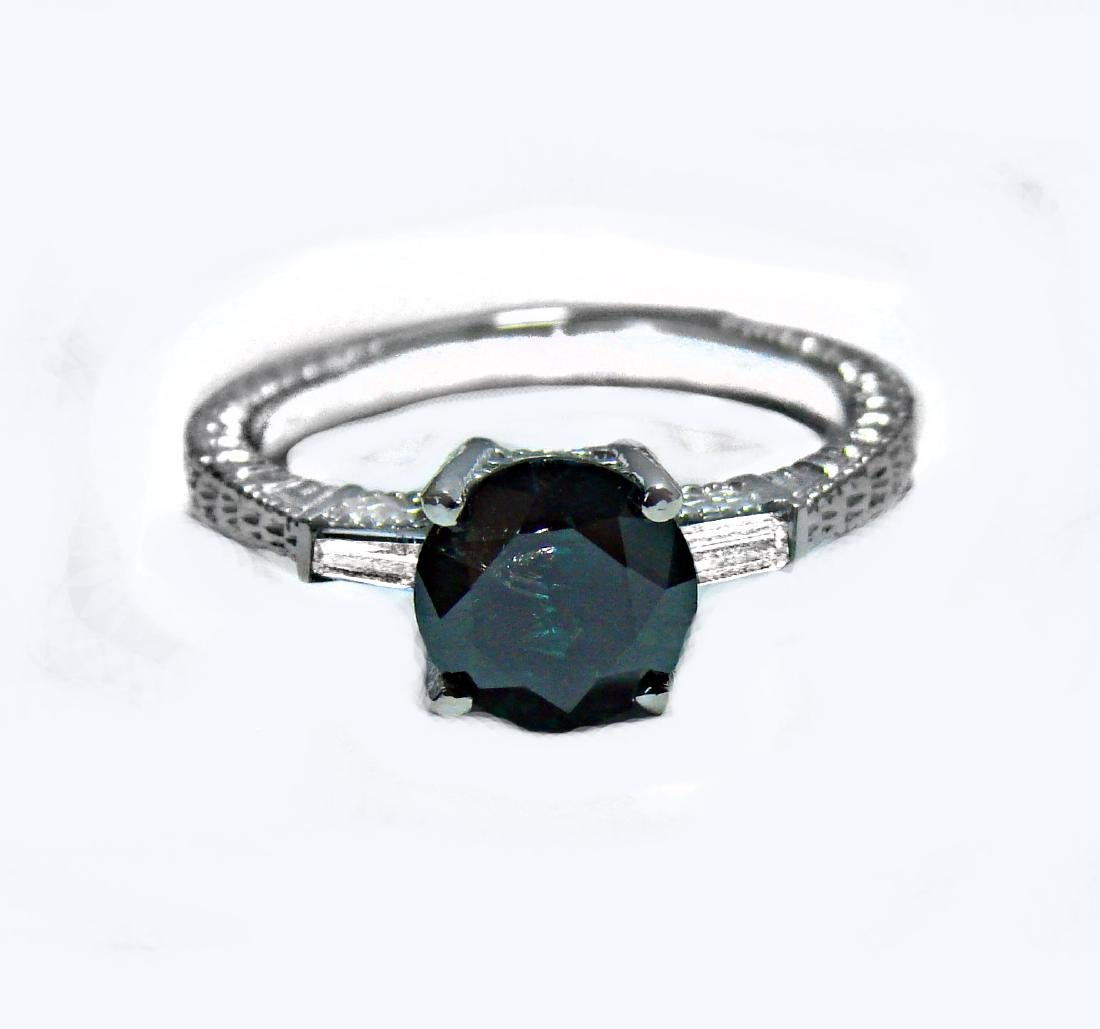 Enhanced Blue Diamond Ring 1.81 Carat 14k W/g - 6