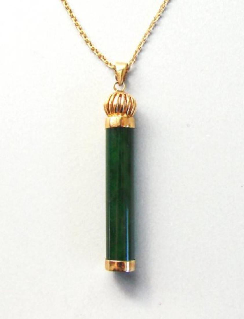 Natural Jadeite Jade Pendant 1A 14K Y/g