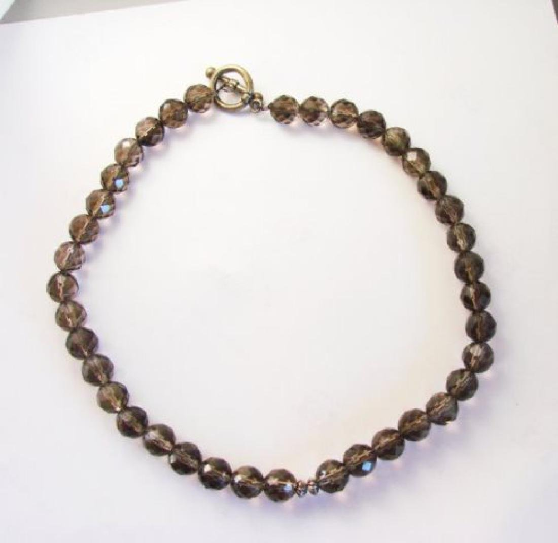 "Natural Smoky Topaz Necklace 10mm 273.50Ct SZ 16"" - 2"